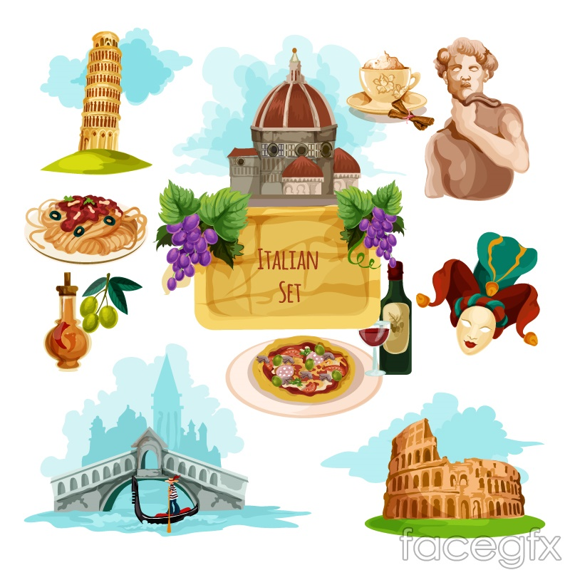 11 watercolor Italy travel element vector