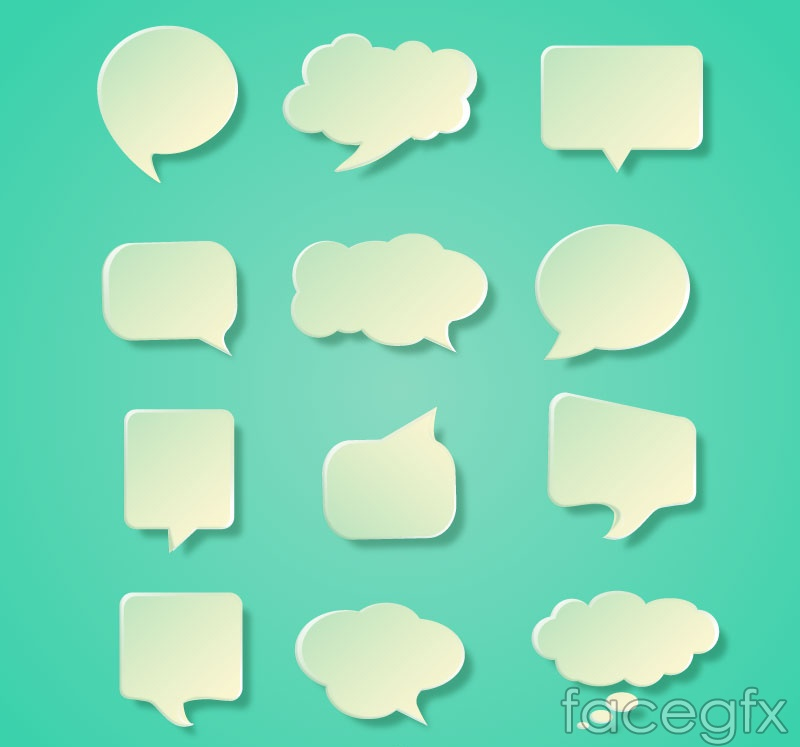 12 white textured language bubbles vector