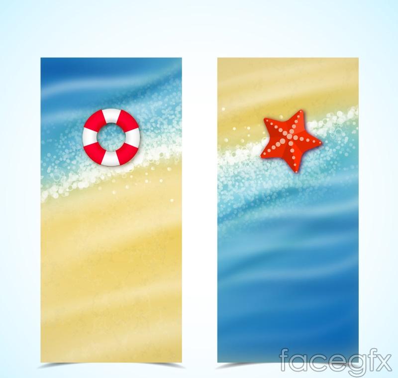 2 summer beach banner vector diagrams