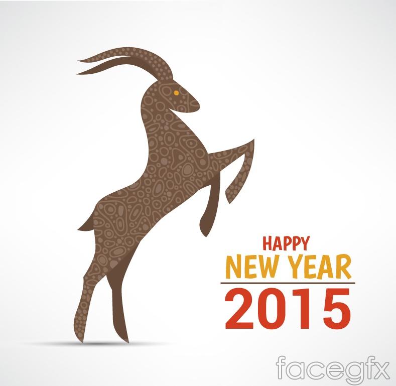 2015 pattern sheep greeting card vector