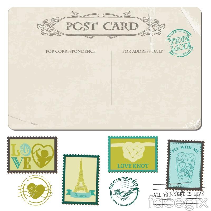 7 vintage wedding postcards and stamps-vector illustration