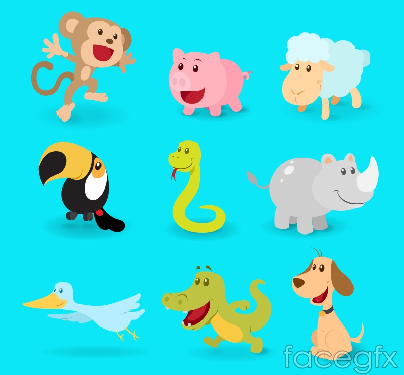 9 cartoon animals vector