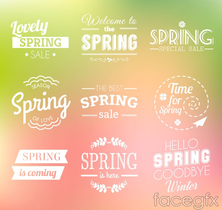 9 Hello spring word art vector illustration