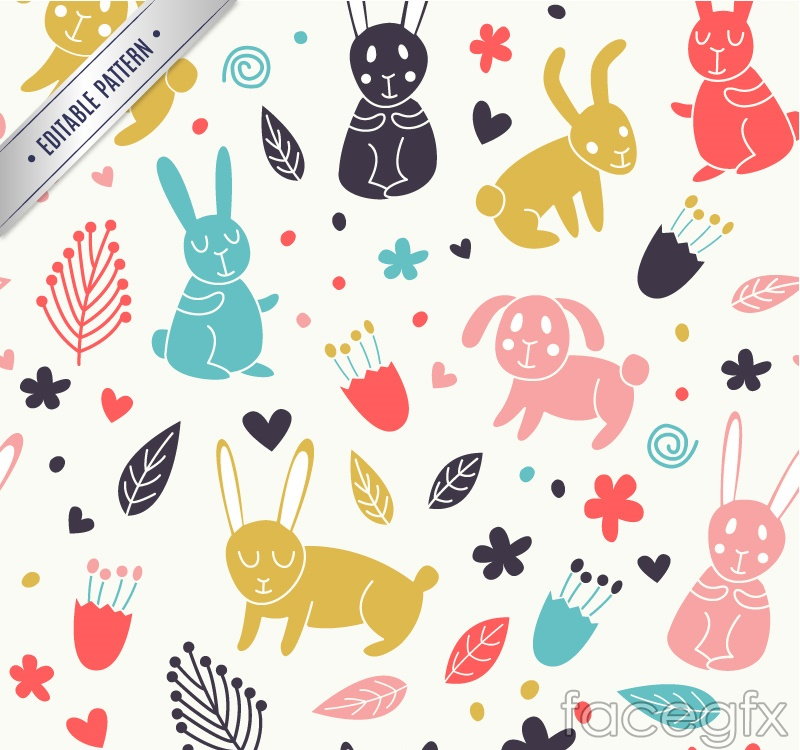 Cartoon rabbits and dogs vector seamless background