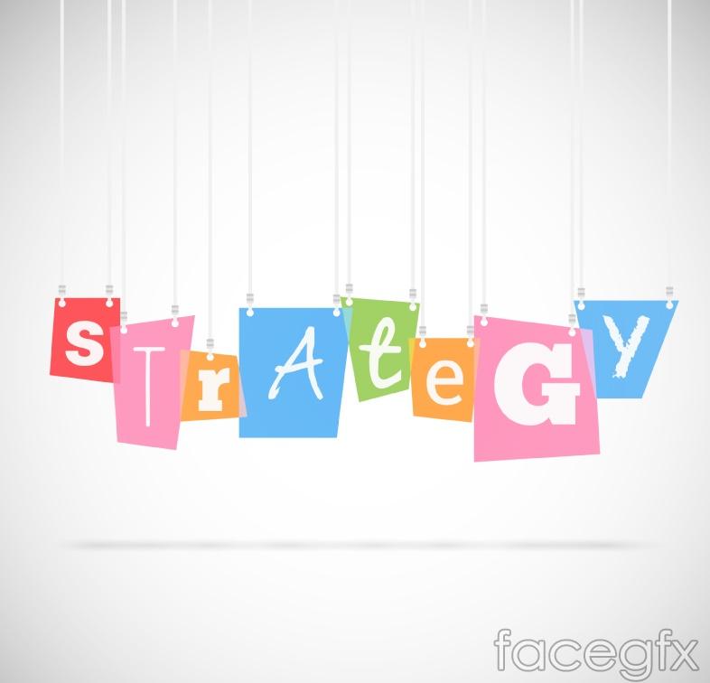 Color strategy WordArt ornaments vector