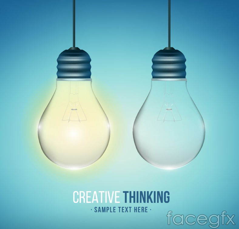 Creative thinking light bulb design vector