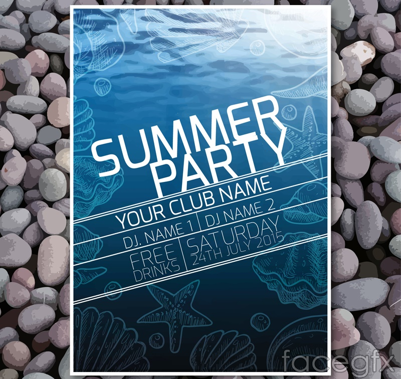 Fashion summer beach party flyer vector graphics