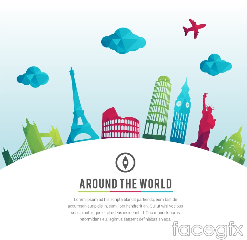 Geometric design of the sights of the world vector