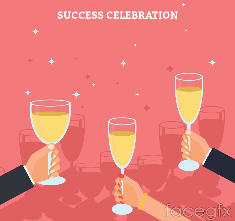Lifting champagne arm vector