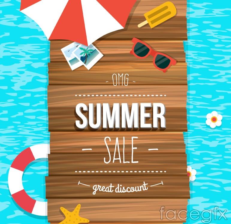 Summer beach promotional poster vector