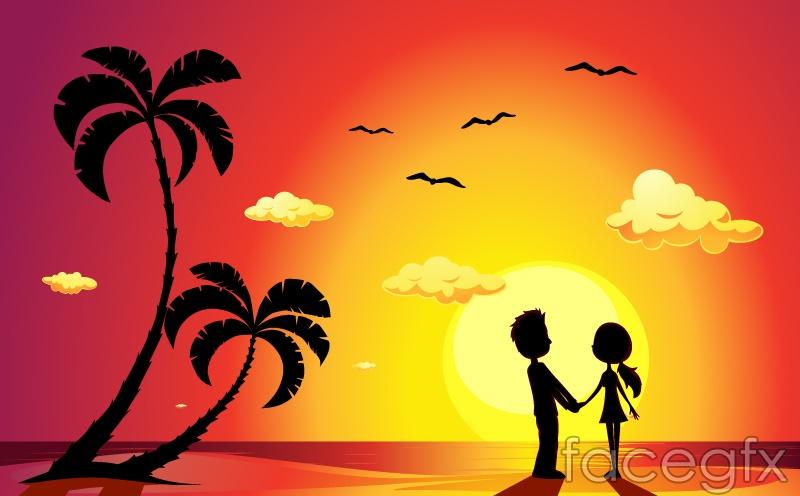 Sunset Beach couple silhouette vector