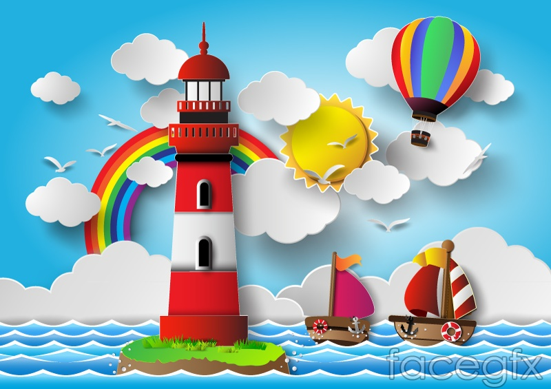 The blue sea and Lighthouse vector