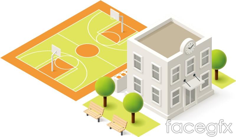 Three-dimensional campus design vector