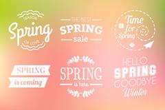 9 Hello spring word art vector illustration