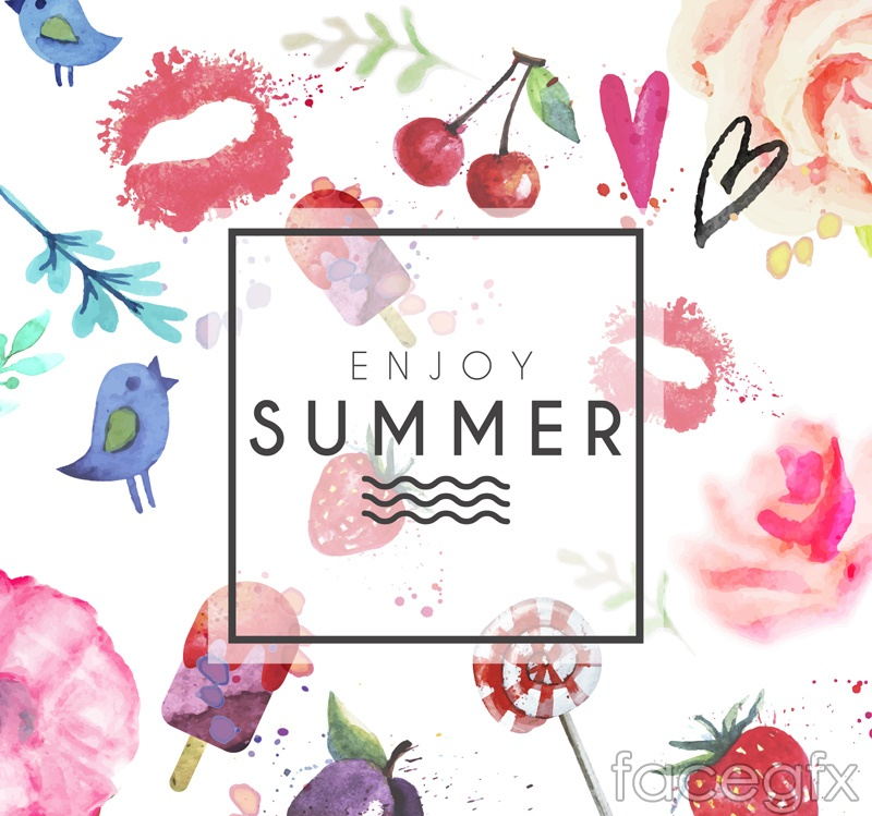 Water painting summer element vector