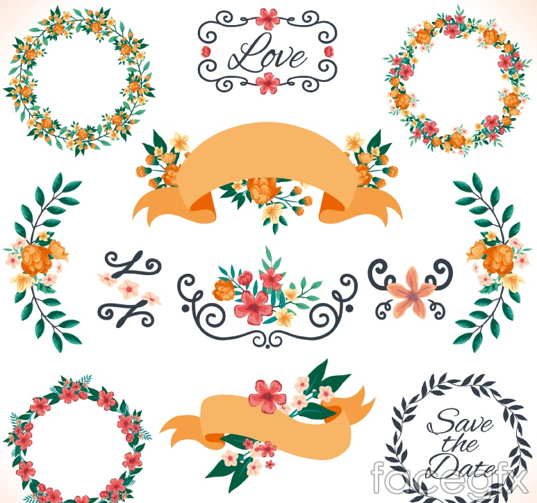 12 flower garlands and vector