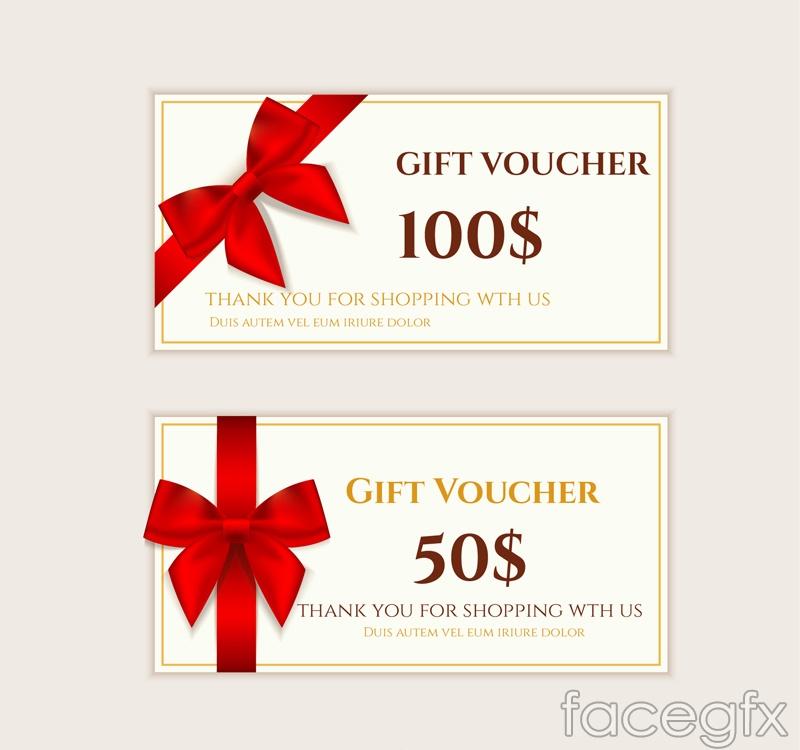 2 bow decoration vouchers vector