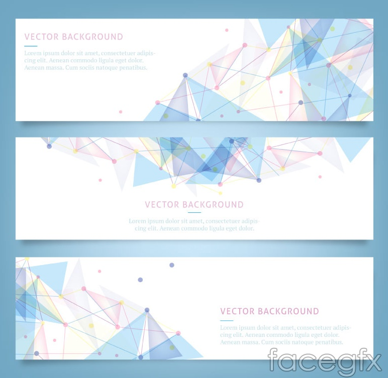 3 blue geometric-shaped banner vector diagrams