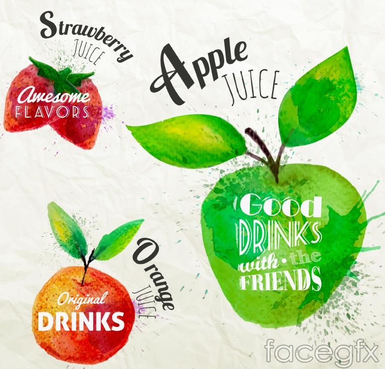 3 watercolor fruit juice labels vector