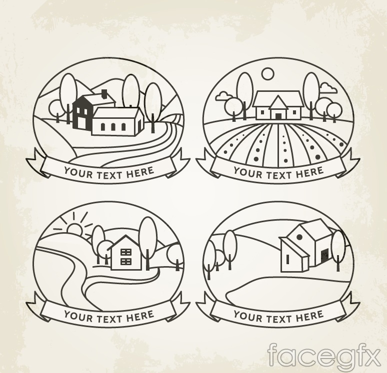 4 hand-painted houses on the outskirts label vector diagrams