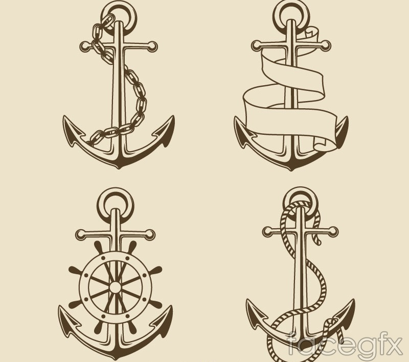 4 vintage hand-painted anchors vector