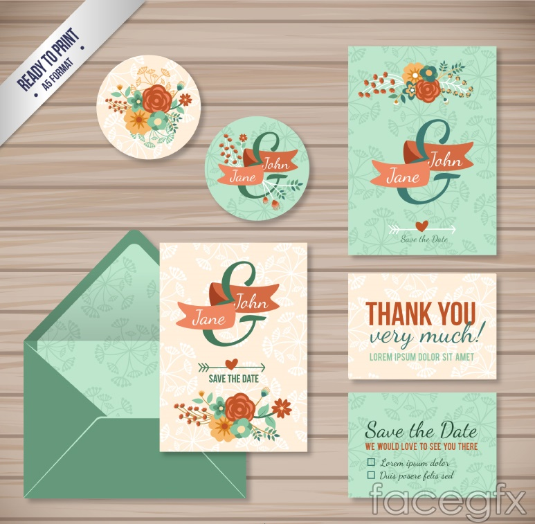 6 floral wedding card vector