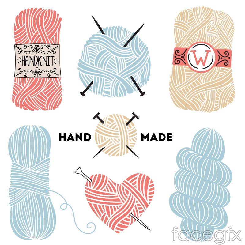 7 hand-painted color wool vector