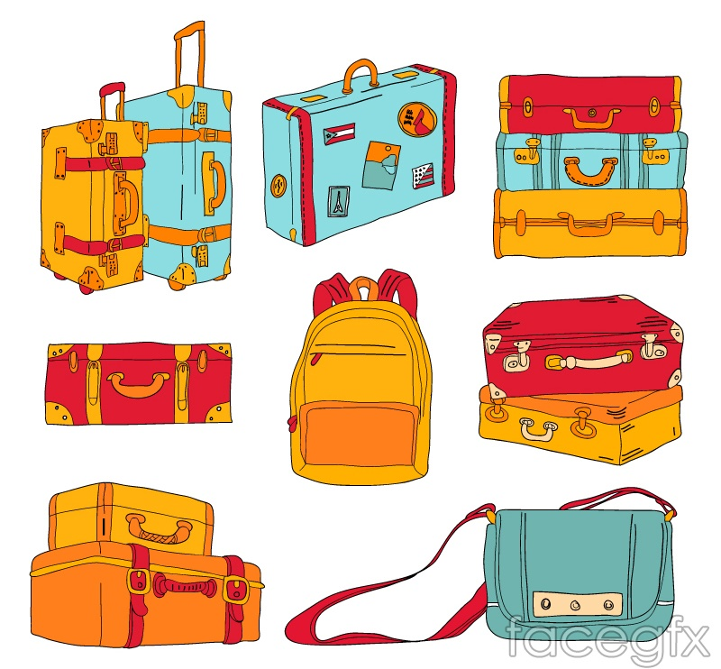 9 color bag design vector