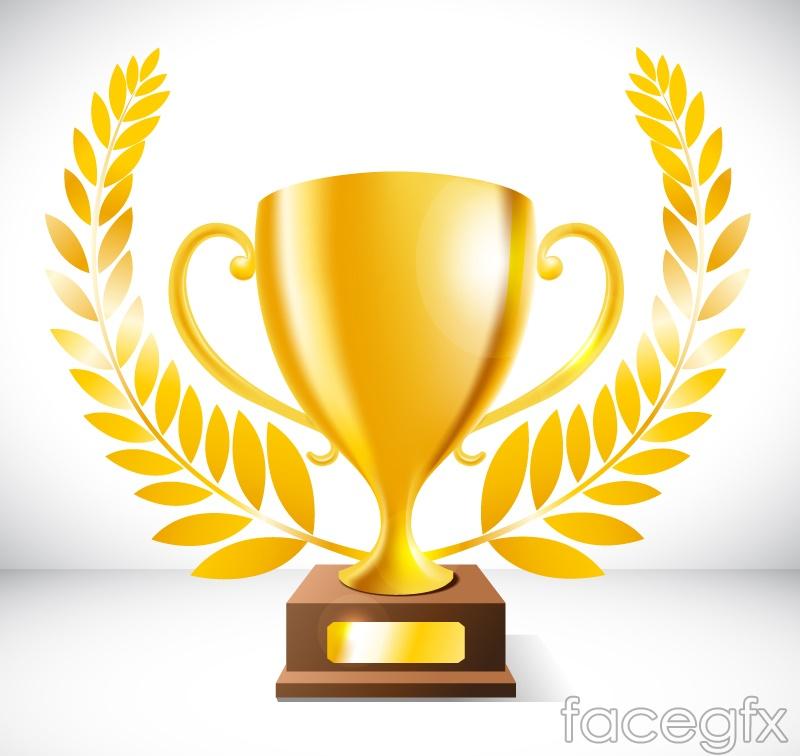 Beautiful Golden Trophy design vector