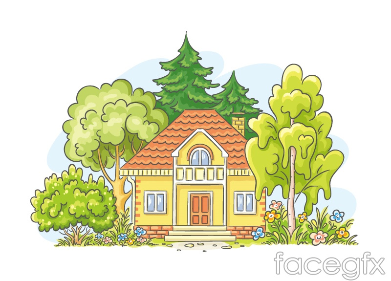 Cartoon houses and trees vector