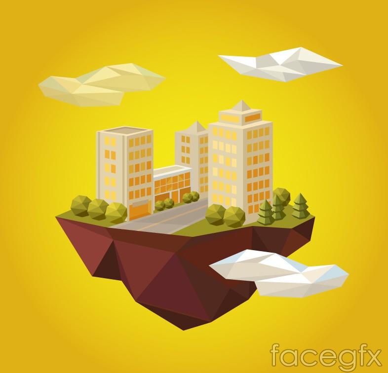 Creative cloud building design vector
