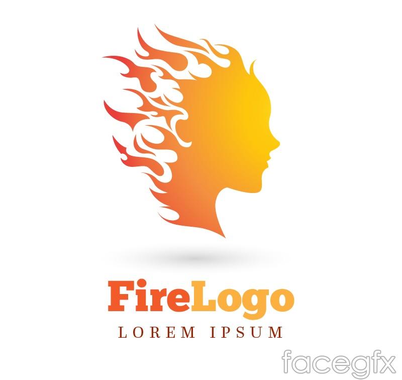 Flame girls head logo vector