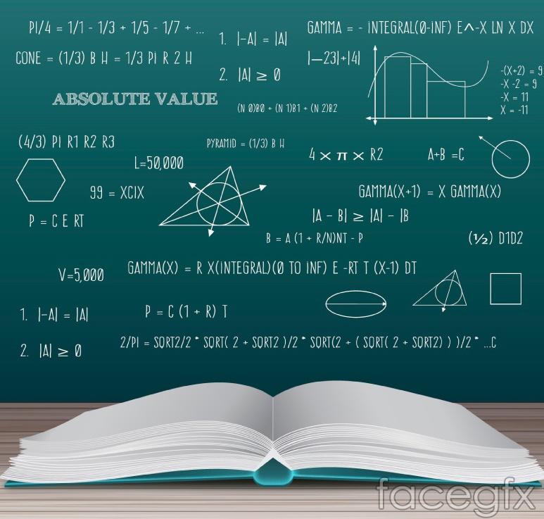 Open books and mathematical formulas vectors