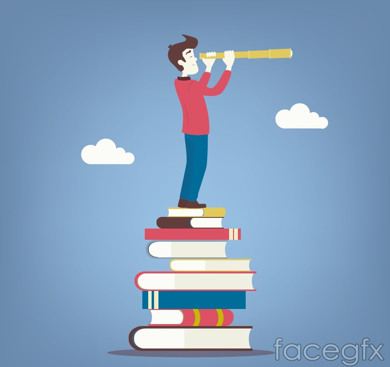 Standing on the books man vector