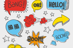 9 comic book-style language bubble vector