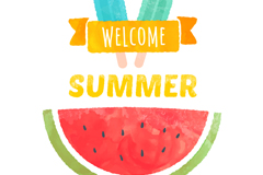 Hello summer water color vector