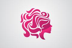 Woman's head logo business card vector