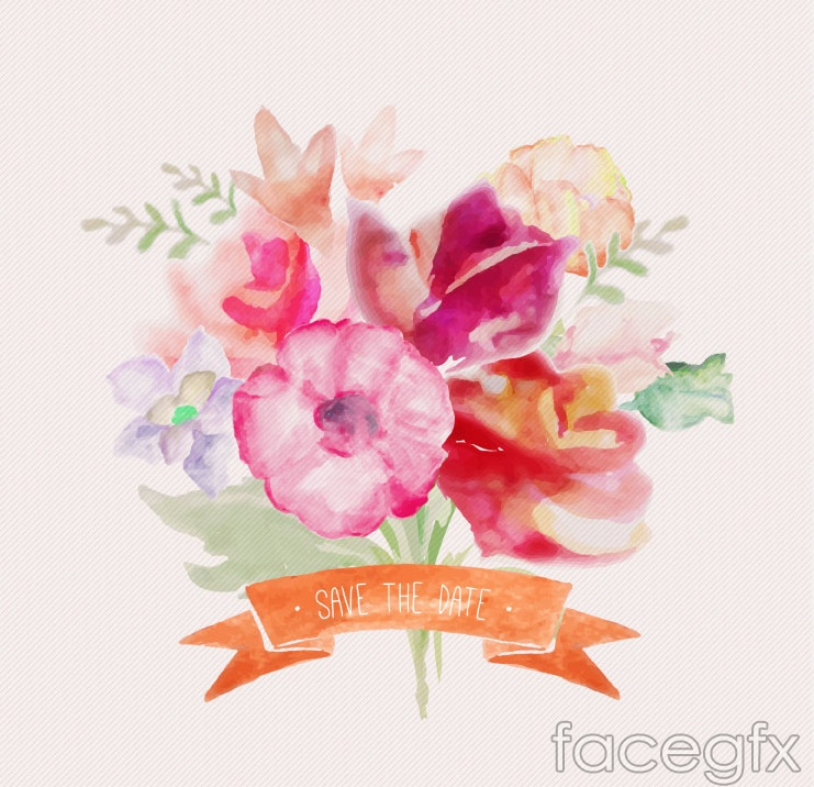 Watercolor bouquet with Ribbon vector