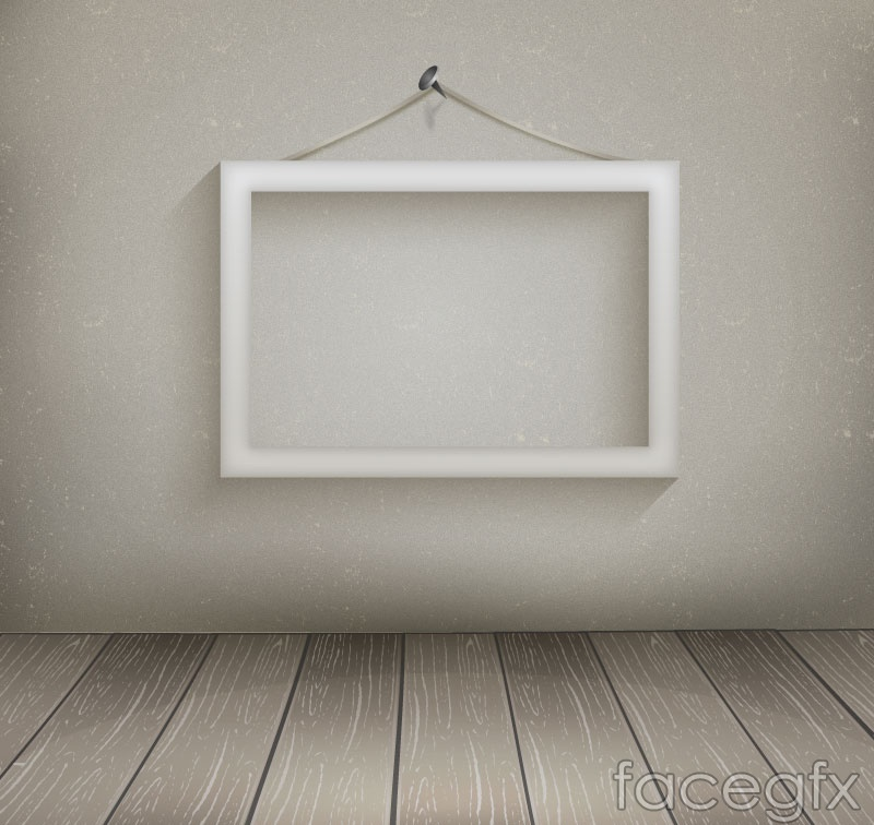 White hanging wooden picture frame vector