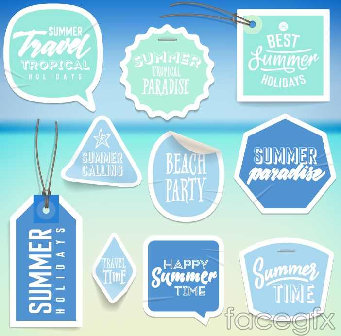 10 blue summer holiday stickers vector