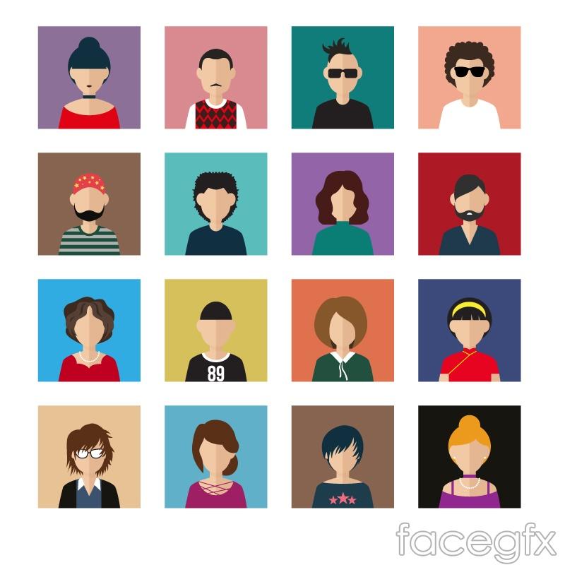 16 creative characters avatar vector illustration
