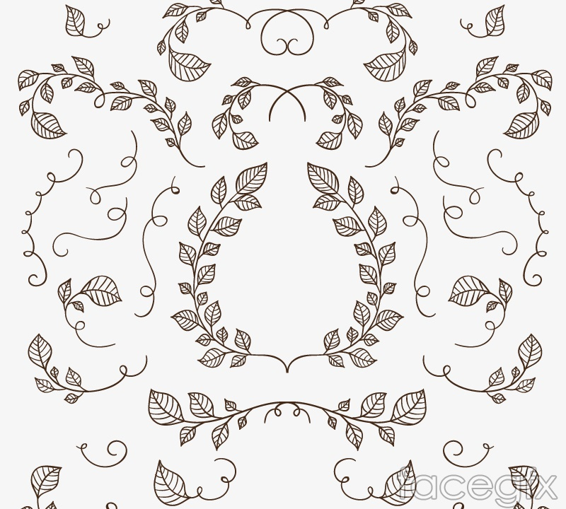 25 hand-painted branches and leaves vector
