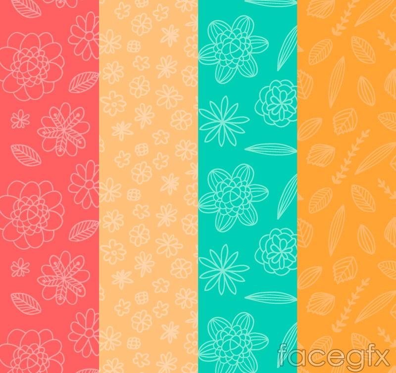 4 fresh, seamless background pattern vector
