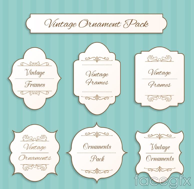 6 vintage label design vector graph