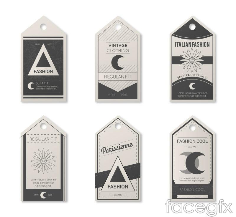 6 vintage paper tag vector