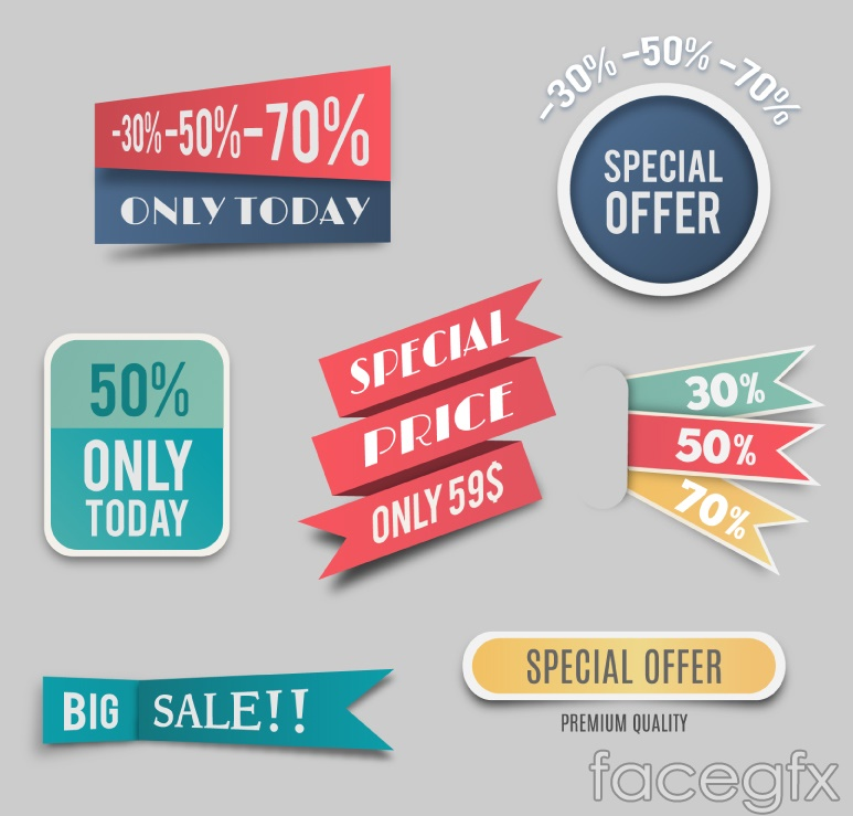 7 color promotional tag vector