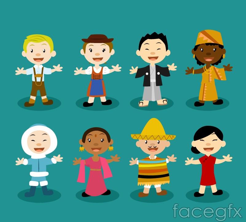 8 of the world's children design vector