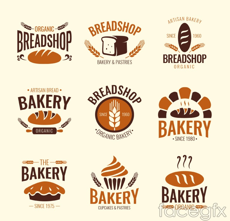 9 bakery label vector