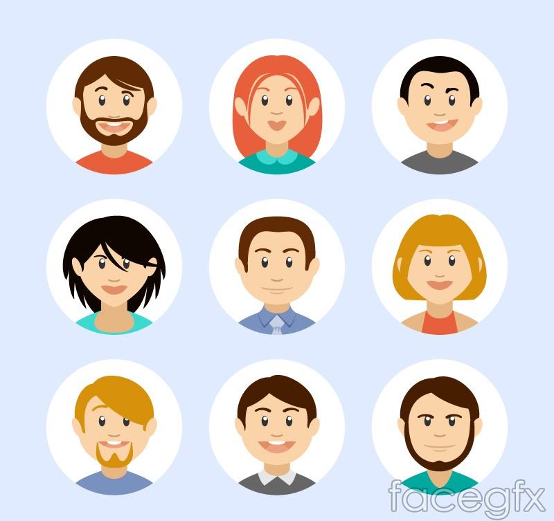 9 cartoon avatar vector illustration