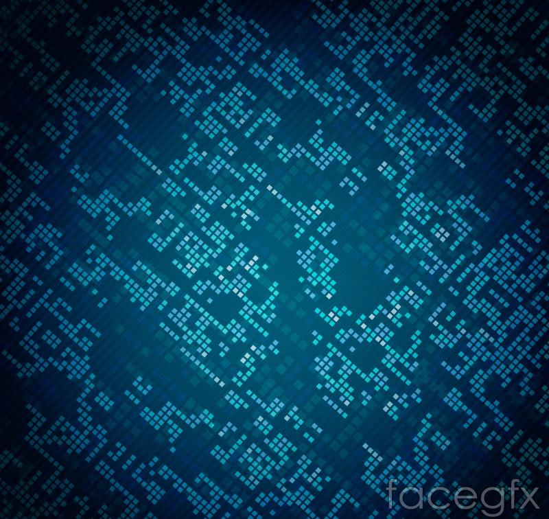 Blue tech squares background vector